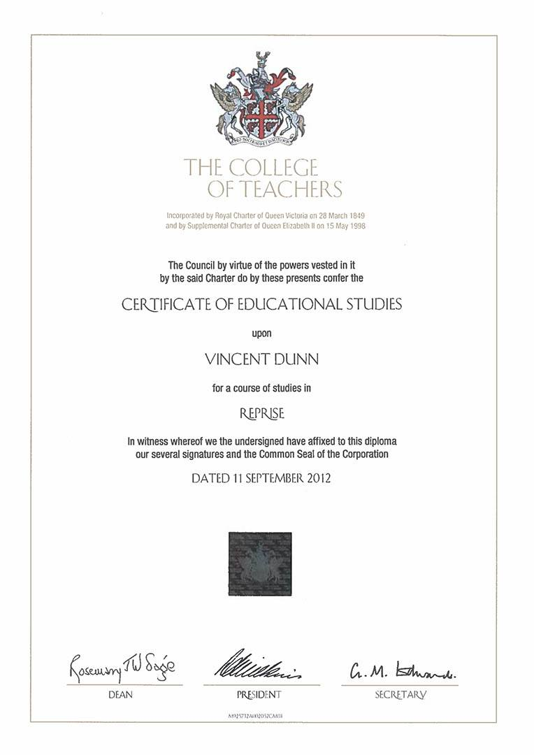 Drum Lessons - Vince Dunn Teaching Certificate